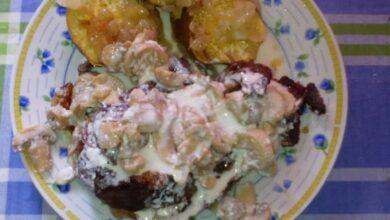 Batata doce com bife à Vasco